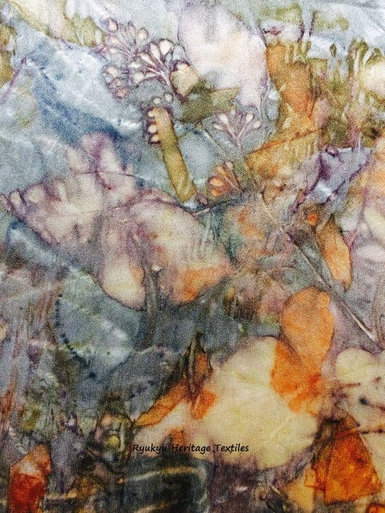 """Stained Glass"" - Eucalyptus and Ryukyu Ai Leaves and Onion Skins on Silk"